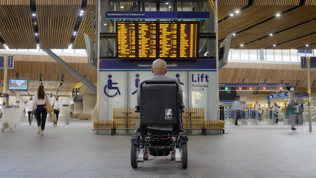 Wheelchair user at station
